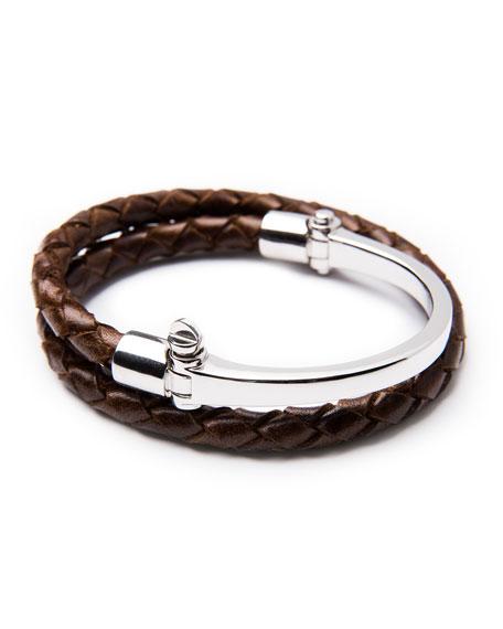 Miansai Half-Cuff with Woven Bracelet, Brown