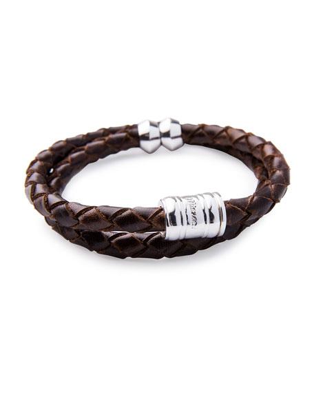 Miansai Men's Woven Leather Bracelet, Brown/Silvertone