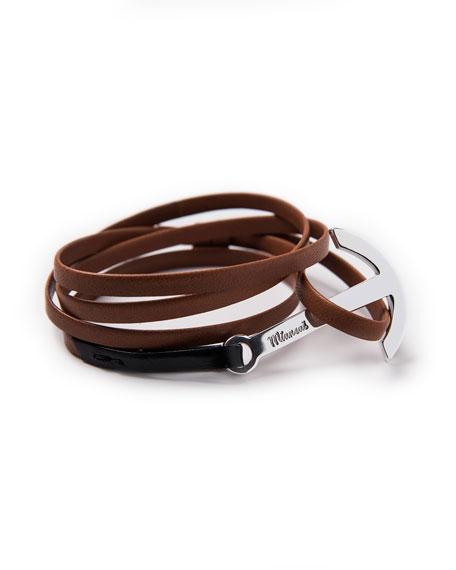 Men's Two-Tone Leather Anchor Bracelet, Brown/Black