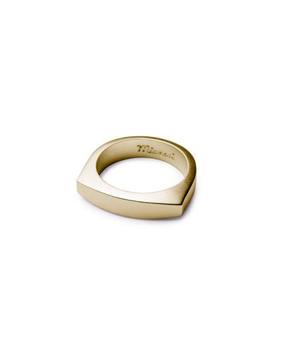 Men's Brushed Golden Flat-Top Ring