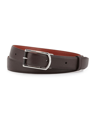 Reversible Saffiano Belt, Brown/Tan