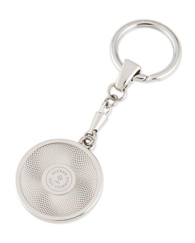 Engine Turned Silver Logo Key Chain