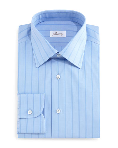 Tonal Wide-Stripe Dress Shirt, Blue