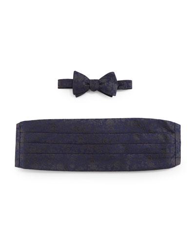 Floral-Print Cummerbund & Bow Tie Set, Navy