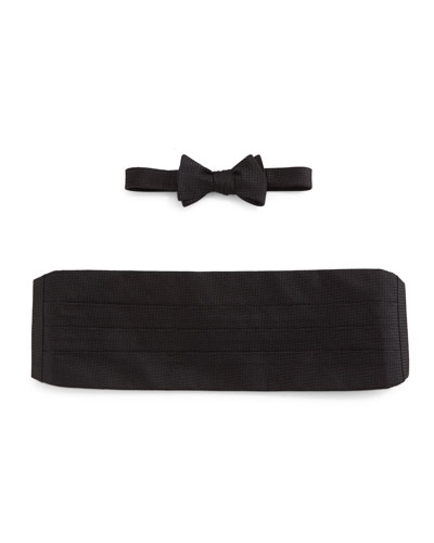 Textured Cummerbund & Bow Tie Set, Black