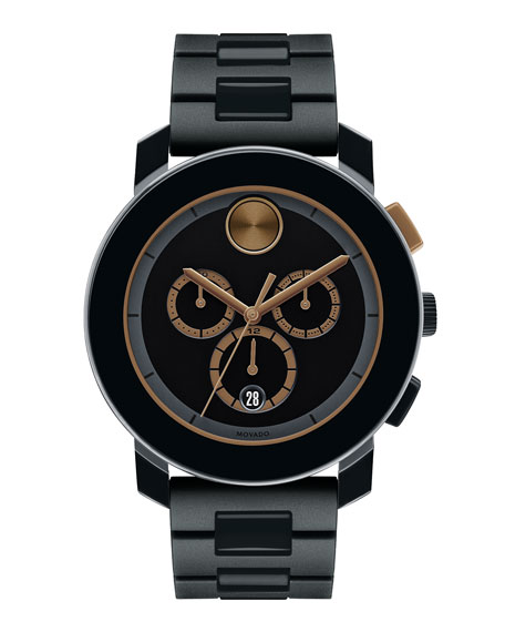 Movado 43.5mm Bold Chronograph Watch, Black/Gold