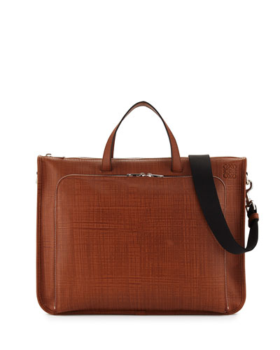 Wide Textured Calfskin Briefcase, Tan