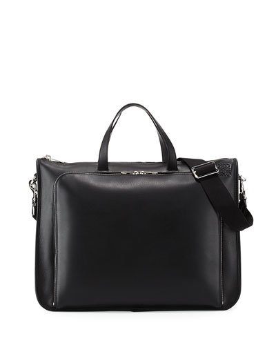 Textured Leather Wide Briefcase, Black