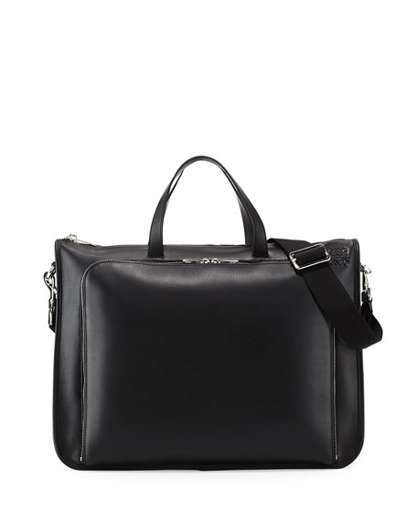 Loewe Textured Leather Wide Briefcase, Black