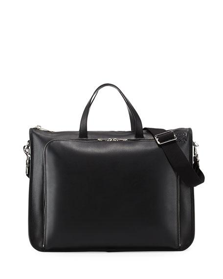 Loewe Textured Leather Wide Briefcase, Black