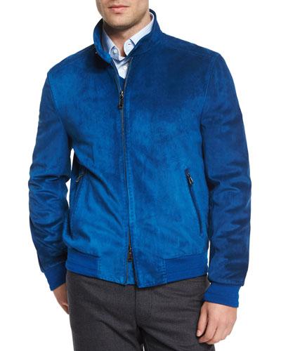 Suede Bomber Jacket, Blue