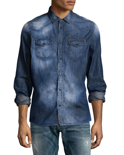 Faded Button-Down Denim Shirt, Indigo