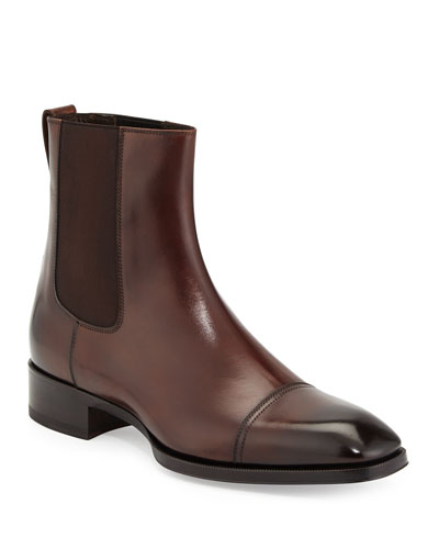 Gianni Leather Chelsea Boot, Brown