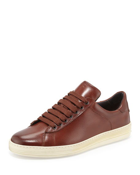 TOM FORD Men's Russel Leather Low-Top Sneakers, Brown