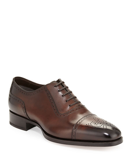 TOM FORD Austin Cap-Toe Oxford Shoe, Brown
