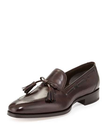 TOM FORDAustin Tassel-Tie Loafer, Brown