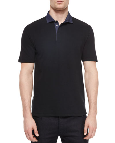Chambray-Collar Short-Sleeve Polo Shirt, Black