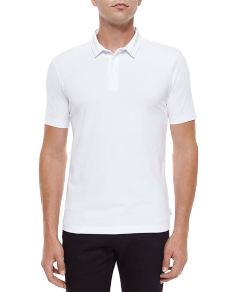 Armani Collezioni Short-Sleeve Polo Shirt with Double Collar,