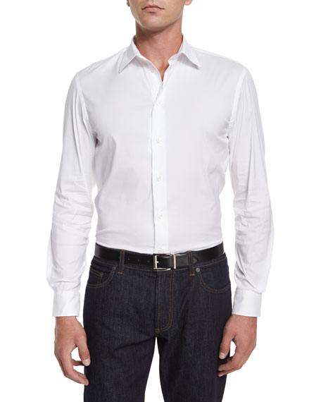 Solid Stretch-Knit Sport Shirt, White