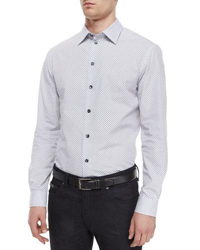 Diamond-Print Woven Sport Shirt, White/Navy
