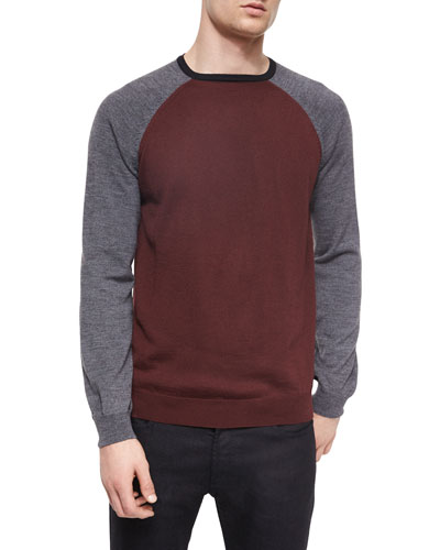 Colorblock Wool-Blend Baseball Sweater, Gray