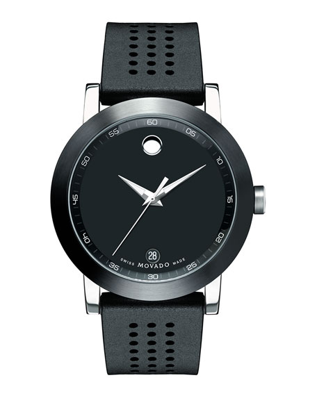 Movado 42mm Museum Sport Watch with Rubber Strap, Black