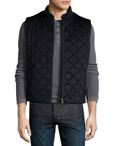 Arena Quilted Cashmere Vest, Navy