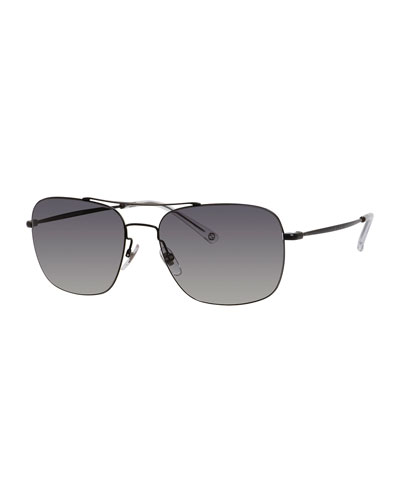 Semi-Matte Metal Aviator Sunglasses, Black