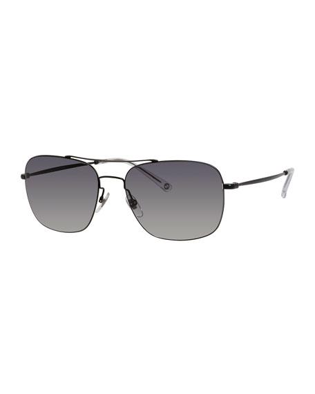 Gucci Semi-Matte Metal Aviator Sunglasses, Black