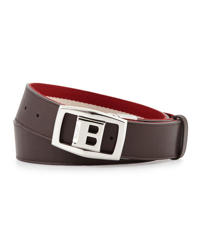 Baldek Reversible Logo Belt, Chocolate