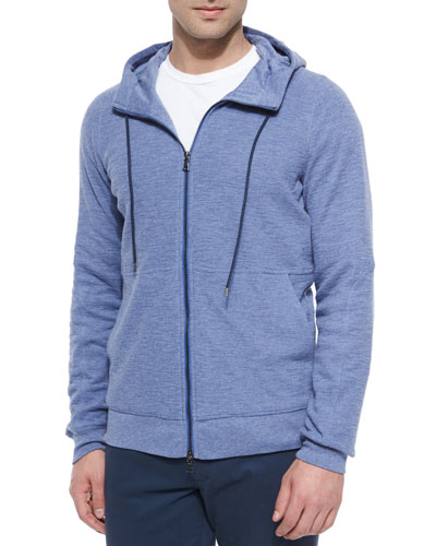 Slub Thermal Zip Hoodie, Light Blue