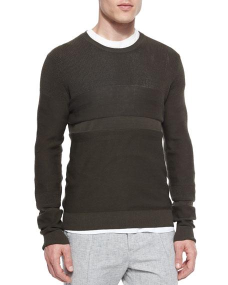 Vince Multi-Stitch Crewneck Sweater, Green