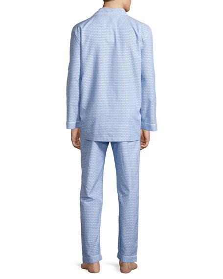 Dot-Print Cotton Pajama Set, Blue