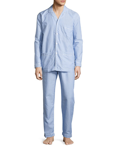 Neiman Marcus Dot-Print Cotton Pajama Set, Blue