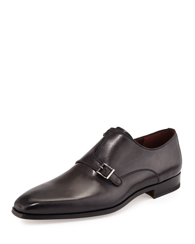 Leather Off-Center Double-Monk Shoe, Gray