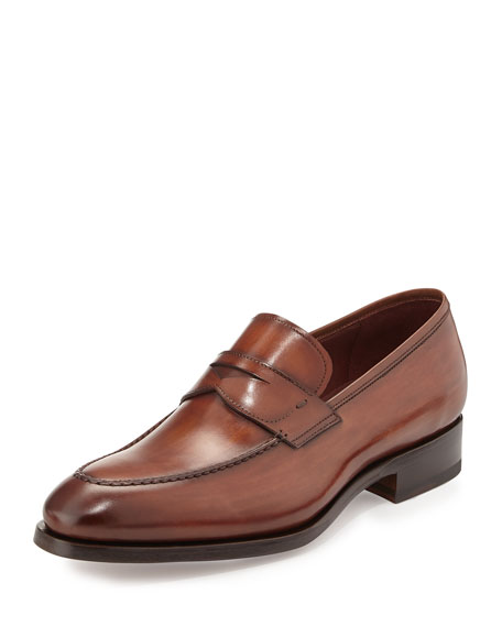 Magnanni for Neiman Marcus Almond-Toe Penny Loafer, Brown