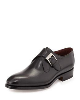 Leather Monk-Strap Shoe, Black