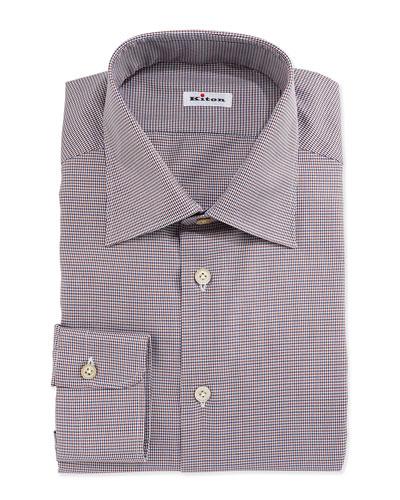 Micro-Houndstooth Woven Dress Shirt, Brown
