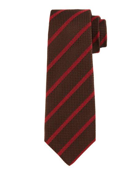 Kiton Textured Diagonal-Stripe Tie, Brown/Red