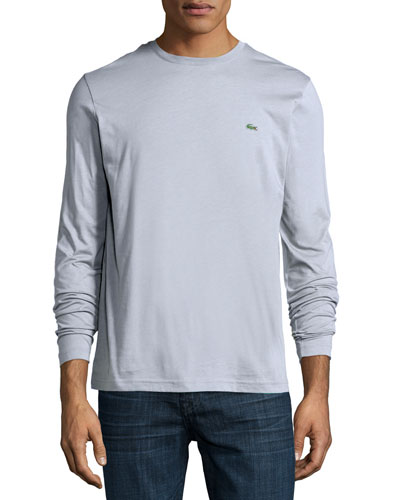 Long-Sleeve Crewneck Tee, Gray