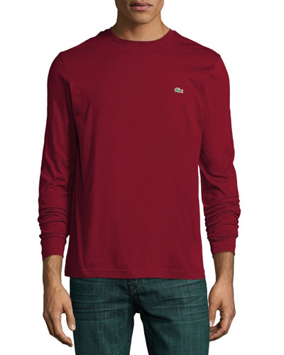 Long-Sleeve Crewneck Tee, Dark Red