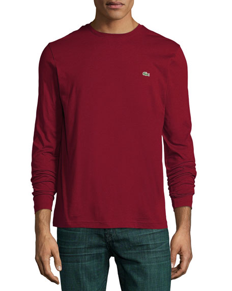Lacoste Long-Sleeve Crewneck Tee, Dark Red