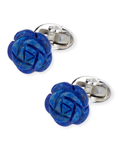 Lapis Carved Rose Cuff Links, Blue