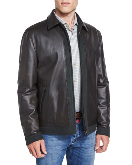 Kiton Leather Bomber Jacket with Cashmere Trim, Olive