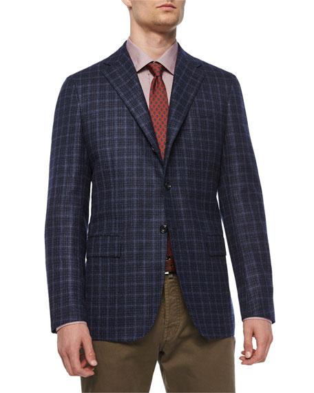 Kiton Check Three-Button Sport Coat, Navy/Gray