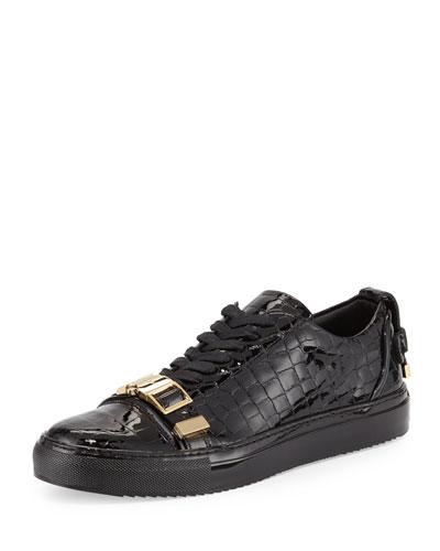 50mm Crocodile-Embossed Leather Low-Top Sneaker, Black