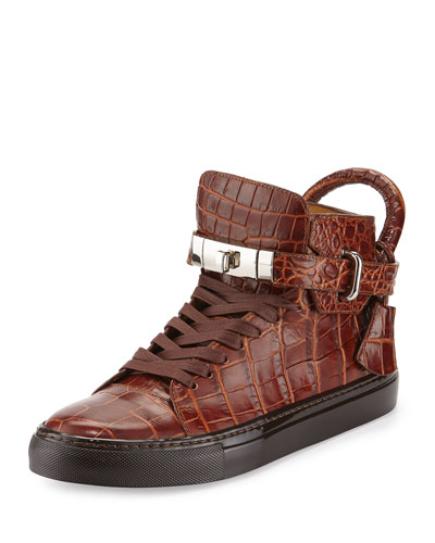 Men's 100mm Crocodile-Embossed High-Top Sneaker, Chocolate