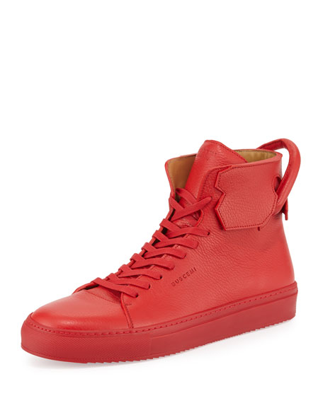 Buscemi125mm Leather High-Top Sneaker, Red