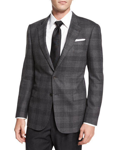 Armani Collezioni G-Line Plaid Two-Button Sport Jacket, Gray