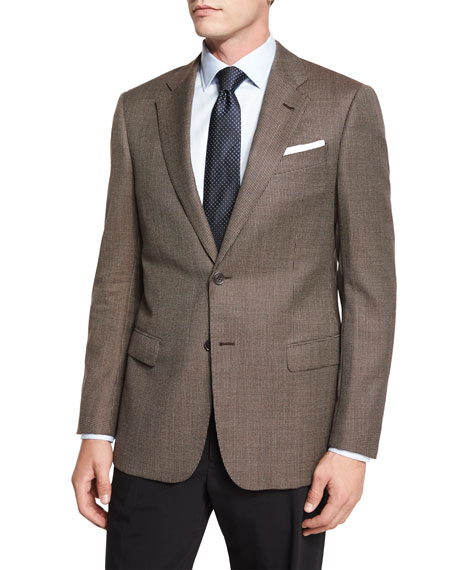 Armani Collezioni G-Line Mini-Houndstooth Sport Jacket, Tan